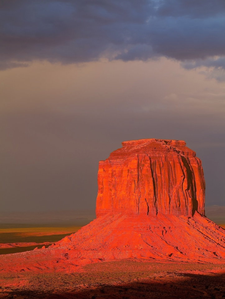 Monument Valley at sundown after heavy rain