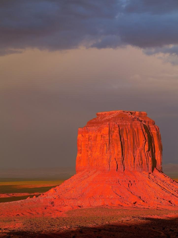 Monument Valley at sundown after heavy rain