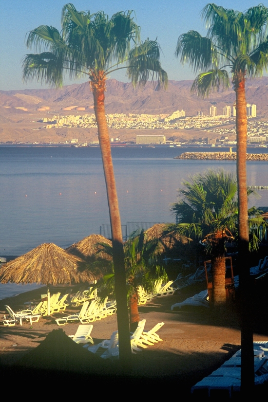 The town of Eilat in Occupied Palestine, viewed from Aqaba