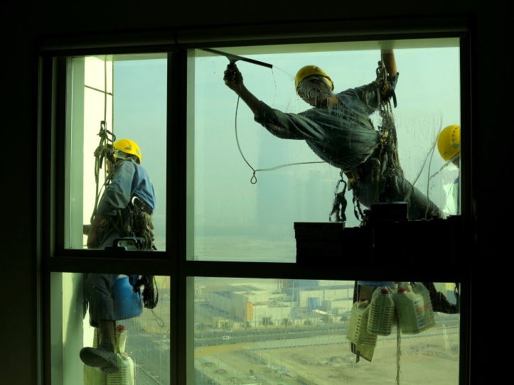 Window washers on a good day