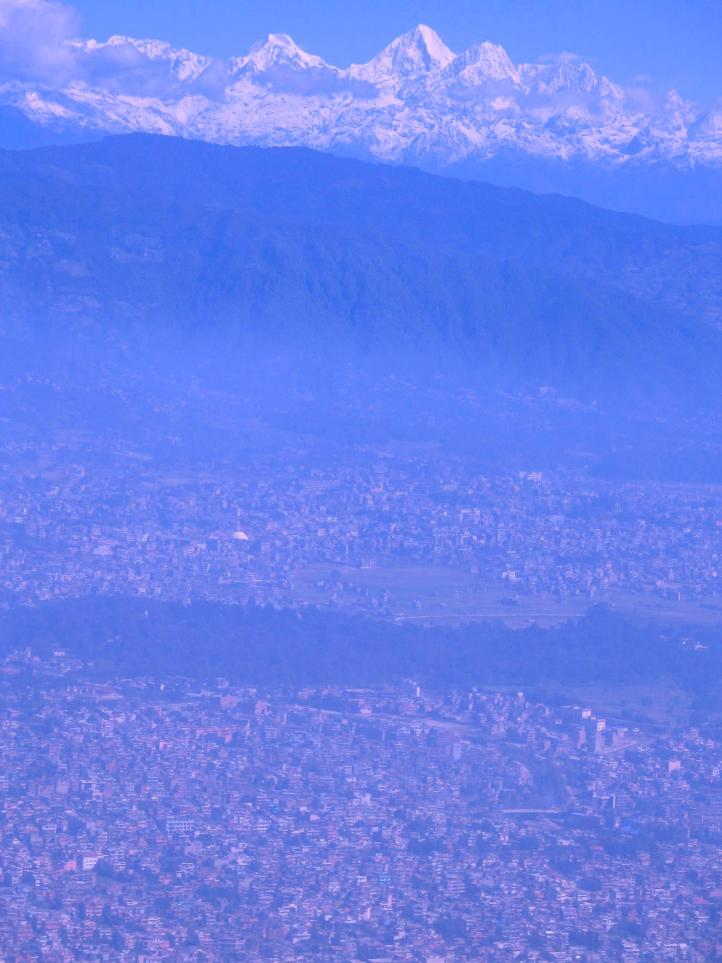 Katmandu, foothills, and the Himalayas beyond the smog