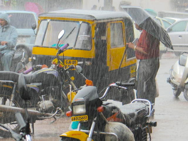 Street scene during monsoon