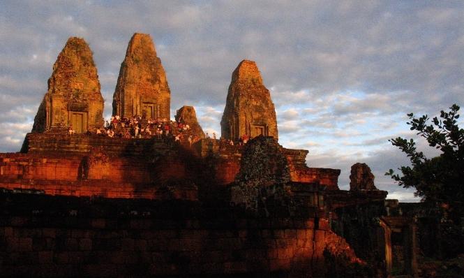 Sundown at the ruins of Pre Rup near Angkor Wat