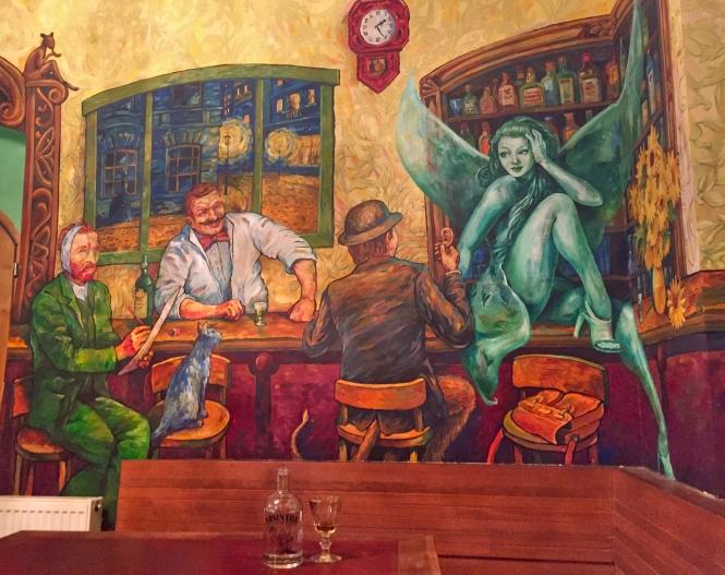 absinthe mural green fairy & Van Gogh