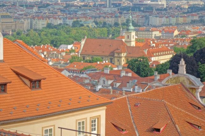 Prague rooftops scene