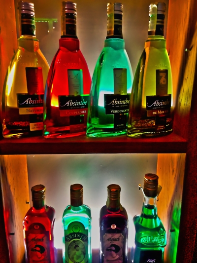 colorful absinthe bottle