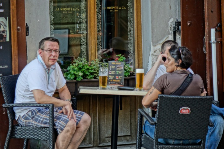 Prague sidewalk cafe
