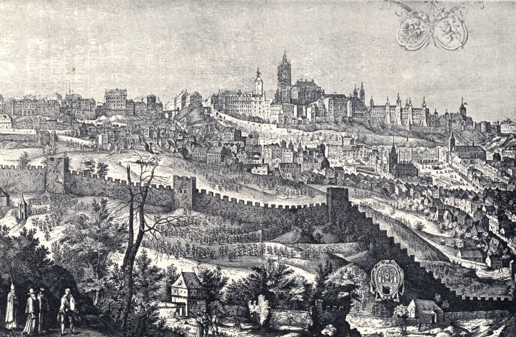 Etching - Prague Castle and Petrin Hill
