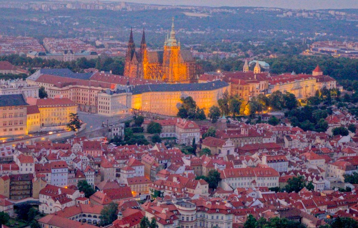 Prague Castle lights at night