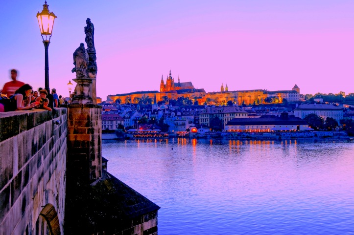 Prague Castle from Charles Bridge - night