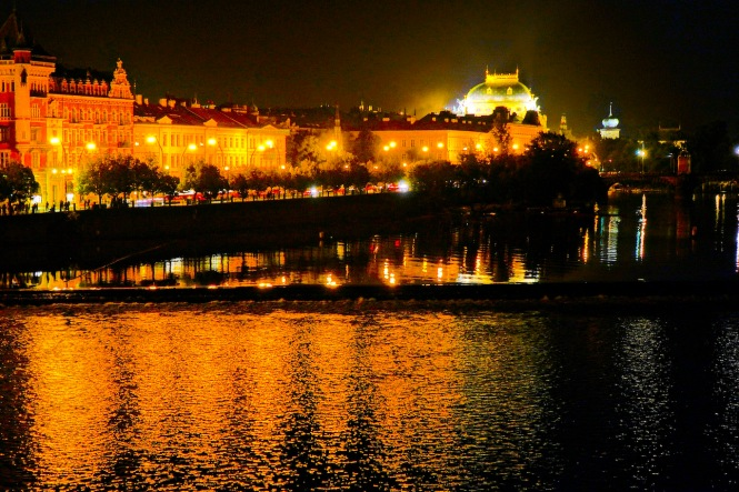 Old Town at night with Vltava reflection