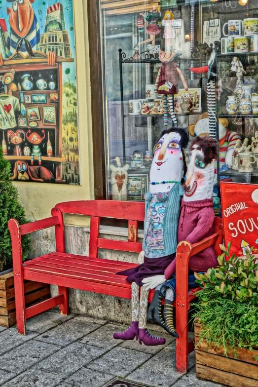 Bench with dolls, Bratislava art