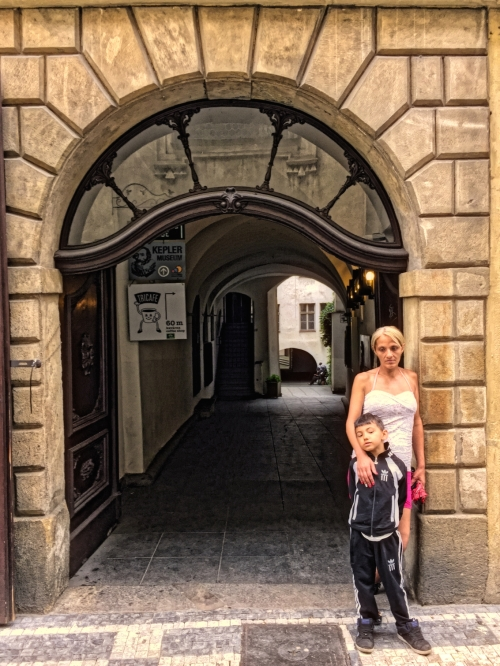 mother & boy -Prague street