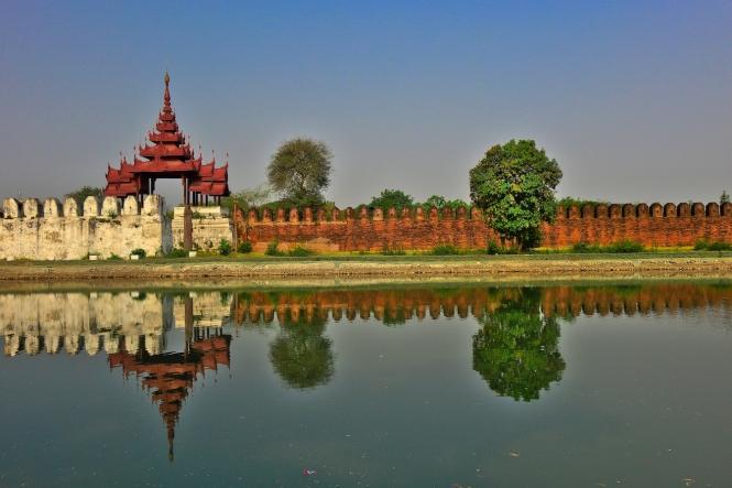 Palace wall, Mandalay, Burma