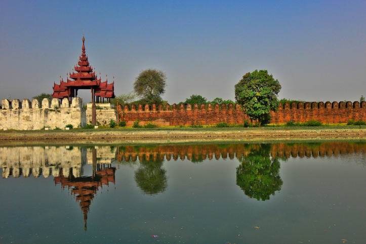 Palace wall, Mandalay, Burma