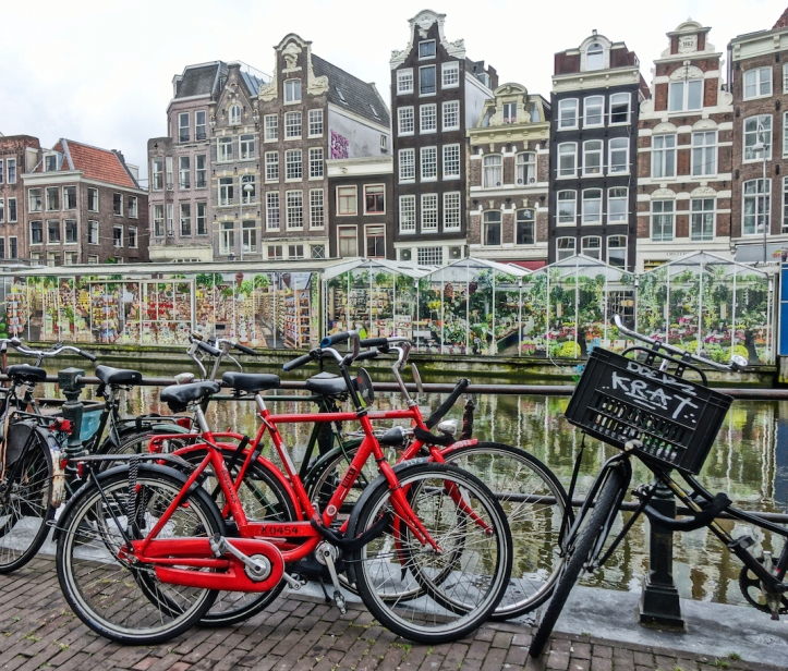 Amsterdam bicycles, flower market