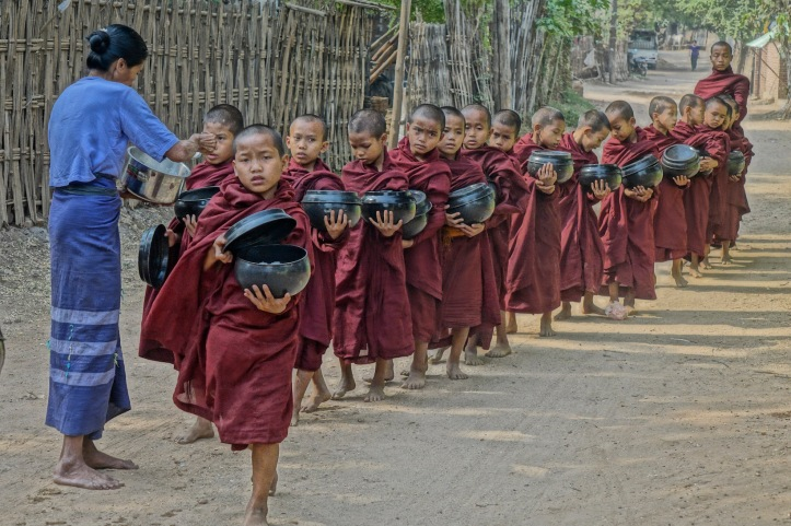 Burma - young monks, food bowl