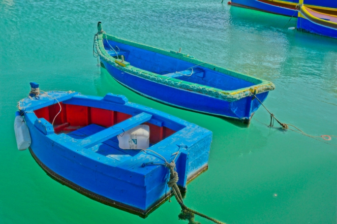 Malta boats green water