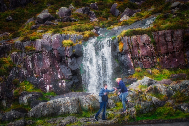 Ireland waterfall w/lovers