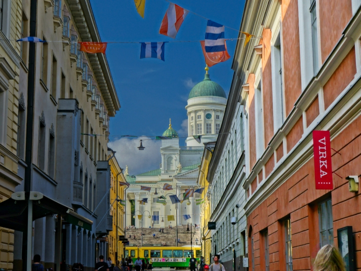 Helsinki Cathedral + flags